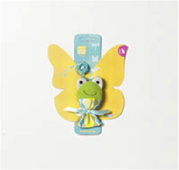 PET BRANDS DANGLING FROG ON AN ELASTIC PLUSH
