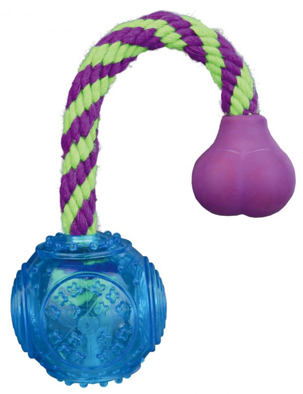 TRIXIE BALL ON A ROPE THERMOPLASTIC RUBBER