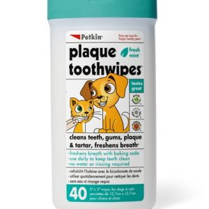 PETKIN PLAQUE TOOTHWIPES, 40 COUNT, FRESH MINT