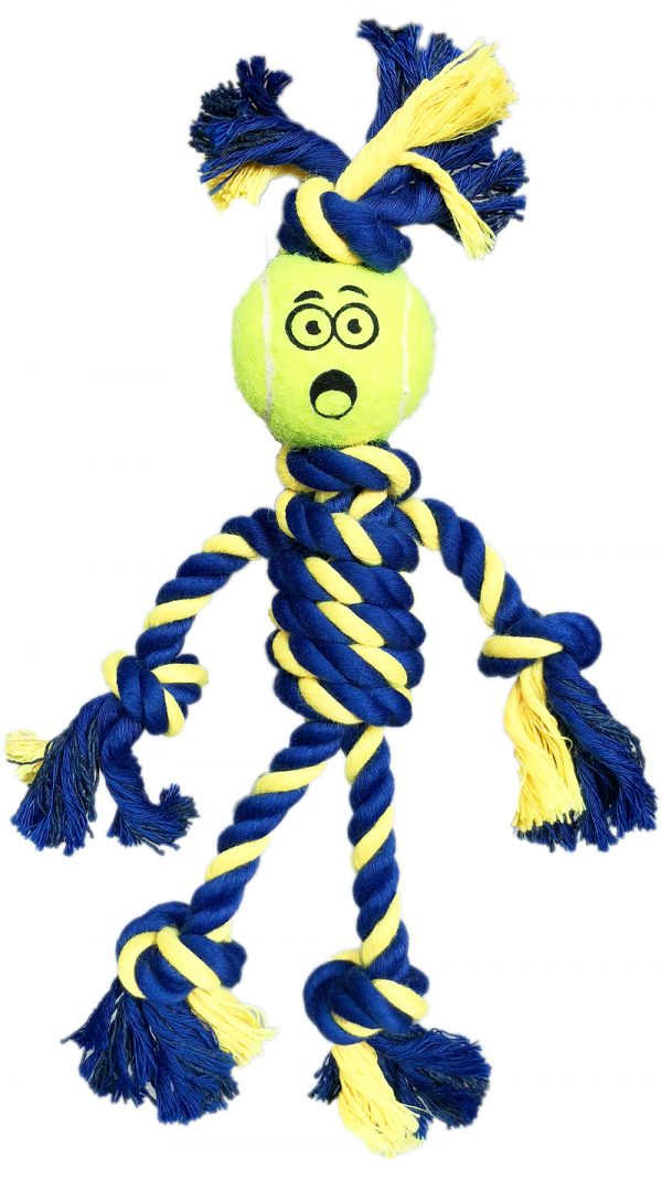 PETSPORT BRAIDED ROPE RASTA MAN WITH TENNIS BALL