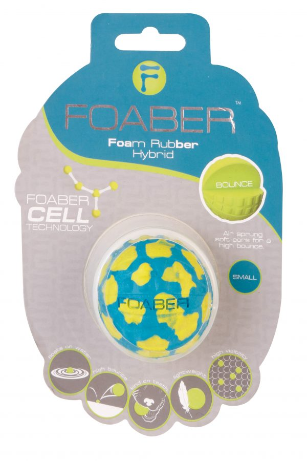 PET BRANDS FOABER BOUNCE BALL FOAM RUBBER HYBRID TOY, MIXED