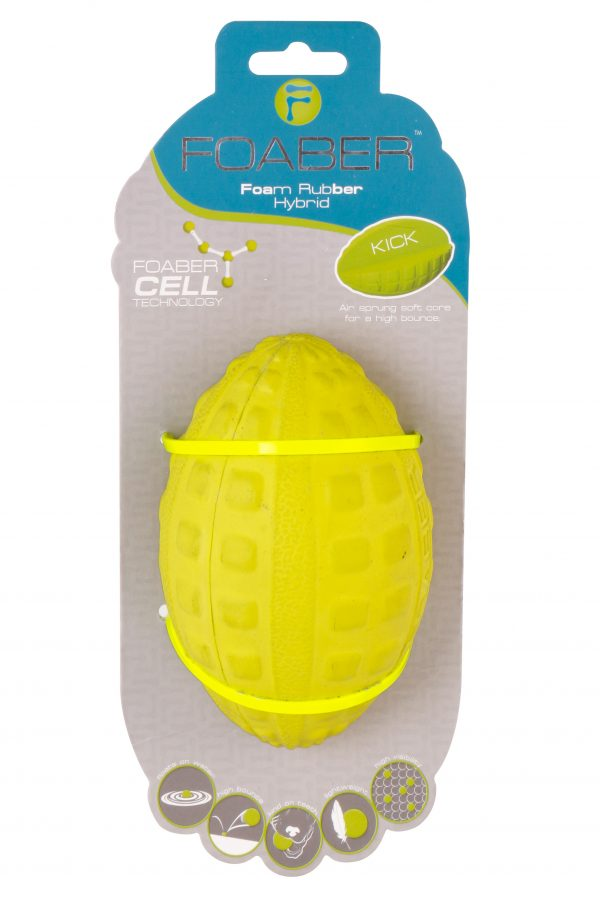 PET BRANDS FOABER KICK RUGBY BALL FOAM RUBBER HYBRID TOY , GREEN
