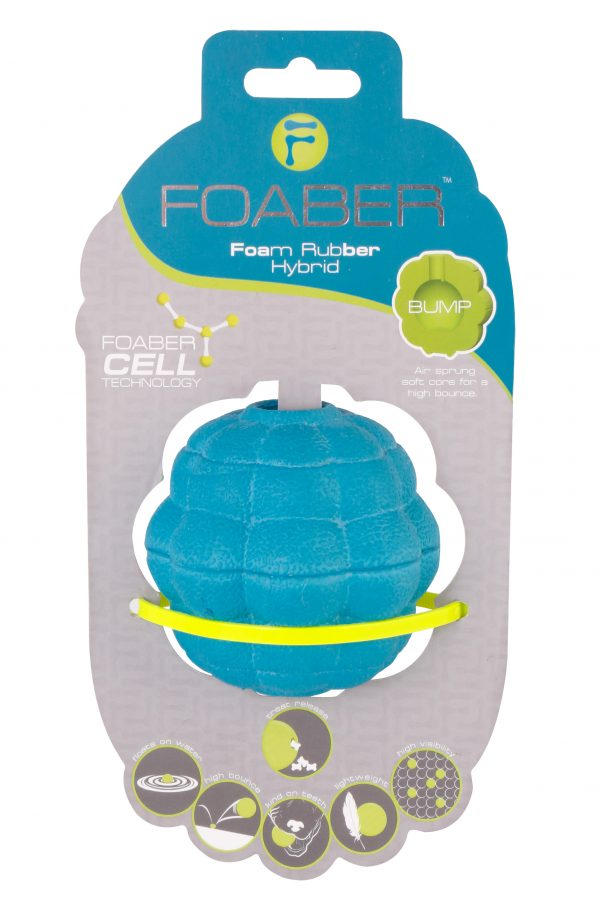 PET BRANDS FOABER BUMP TREAT BALL FOAM RUBBER HYBRID BLUE